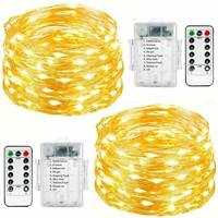 Fairy String Lights, 2 Set 33ft 100 Led Fairy Lights Battery Operated Copper