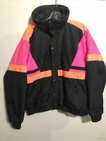 Vintage Black/Pink/Orange Ski Jacket XL Full Zip Lined CB Sports