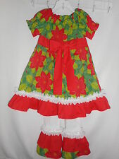 Toddler Girls Handmade Christmas Dress Outfit with Ruffle Leggings Size 5T NEW