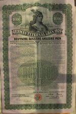"German bond External ""Dawes Loan"", USA issue. 1924 $1000 cancelled"