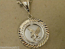 Men's Cuban Cubic Link Chain Necklace & Eagle Charm Set Rhodium Plated 24in Long