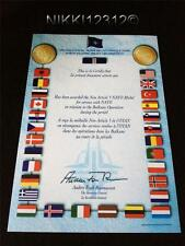 NATO NON ARTICLE 5 BALKLANS MEDAL CERTIFICATE IN MINT CONDITION