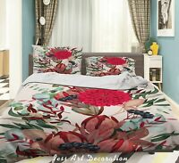 3D Red Floral Leaf Plant Quilt Cover Sets Pillowcases Duvet Comforter Cover