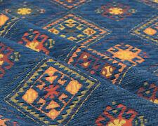 Kilim ethnic fabric upholstery tapestry southwestern boho decor blue textile