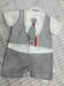 Baby Boys 100% cotton smart 4pc suit look all in one summer romper - BNWT