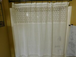 Embroidered Shower Curtain Pre Owned Semi Sheer Ivory