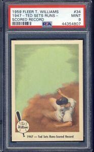 1959 Fleer Ted Williams Baseball #34 1947 - Ted Set Runs Scored Record PSA 9
