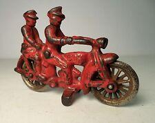 1930 Hubley Cast Iron Red PHD Motorcycle COP w/ 2 Riders & 2 Headlight Arcade