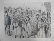 GRANDE ET TRES BELLE GRAVURE ANCIENNE 1900 MADAGASCAR MUSIQUE ORCHESTRE