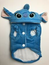 Stitch Dog Halloween Costume Blue Warm Winter Coat Buttons Hoodie