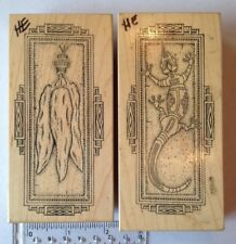 2 Rubber stamps Southwest chillis and gecko with borders large size native print