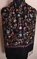 CHRISTMAS GIFT CREWEL  EMBROIDERY SCARF CASHMERE PASHMINA~13 DESIGN CHOICE