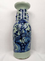Large antique Chinese celadon ground vase with flowers and bird // 19th century
