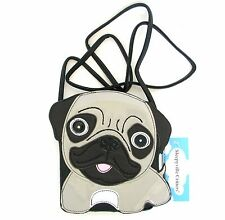 NEW BLACK+GREY,GRAY PATENT LEATHERETTE PUG PUPPY DOG BAG,CROSS BODY,PURSE