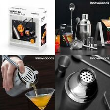 Coctelera 500ml+Recetario+vaso medidor+cucharas larga y corta+pinzas,acero inox
