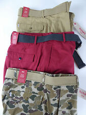 Levi Strauss Levi's Snap Cargo Cotton Shorts w/ Belt NWT $56 Tan Red Green Camo