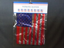 Patriotic Americana 12' Long Red Silver Blue Foil Banner With 8 American Flags