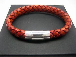 925 sterling silver tube decor w/8mm braided Italian leather bracelet men/women