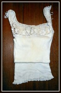 RARE! Antique Victorian Edwardian Gibson Girl Soft Rib Knit Long Cream Camisole