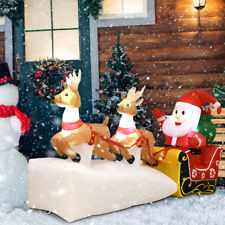 7' Christmas Decoration Inflatable Santa Claus on Sleigh 2 Reindeers Outdoor