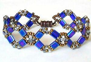 Handmade Cobalt Tila Magnetic Bracelet