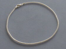 "NEW- ITALIAN STERLING SILVER ANKLE BRACELET- 9""-SHIMMERY POPCORN STYLE-ITALY 925"