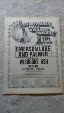 More details for rock at the oval 30/9/72 melody maker poll awards ad * elp*wishbone ash*genesis