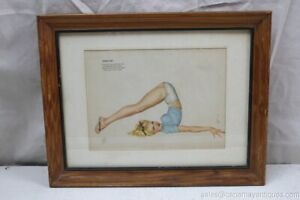 A Varoa Esquire Pin Up Framed Print February Commando Tricks Stay Fit Blonde