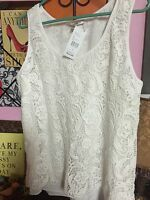 NWT - CAbi #284 BOBBIN LACE TOP - WHITE - SIZE LARGE - FULLY LINED - GORGEOUS!!
