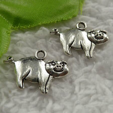 free ship 176 pieces tibet silver pig charms 22x16mm #4088