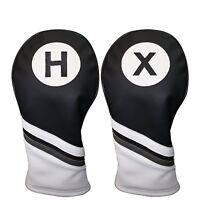 Majek Golf Headcover Black White Leather Style X & H Wood & Hybrid Head Cover