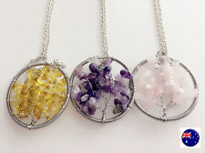 Women Girls Tree of Life Natural gemstones Stones Crystal Lucky Necklace Gift