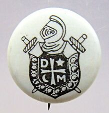 1920's or older DEMOLAY pinback button Masonic black on white +