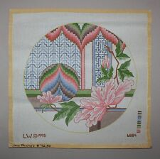 1995 L. W. Round Asian Floral Handpainted in Color Needlepoint Canvas 6884 New