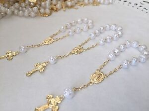 12 Pc Mini Rosary WHITE Baptism Favors/Communion Favors/recuerdos De Bautizo