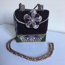 Mary Frances Beaded Handbag Purple Flower Velvet Box Shape