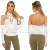 New Sexy Women's Lace up Off Bare Cold Shoulder Tops Blouse Size 6 8 10 XS S M