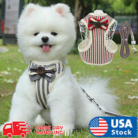 Bow tie Breathable Small Dog Cat Pet harness Vest Collar Chest Strap Leash XS-XL