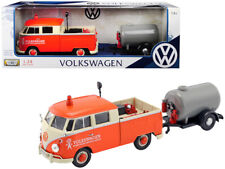"Volkswagen Type 2 (T1) Pickup Truck Orange and Cream with Oil Trailer ""Road Serv"