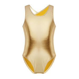 UK Girls Metallic Leotard Gymnastics Ballet Dancewear Glittery Jumpsuit Costume
