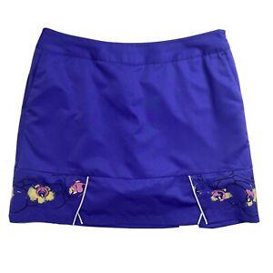 Adidas Women's Medium Golf/Tennis Skort Skirt M Purple Abstract Design