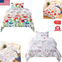 Printed Comforter Set Floral Reversible ALL Season Twin Queen King 1 Pillow Case