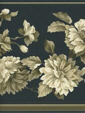 EDDIE BAUER TAN FLORAL ON BLACK  WALLPAPER BORDER