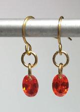 Orange Sapphire Oval C Z Drop Earrings 8xMM Oval Handmade 3 Carat Look