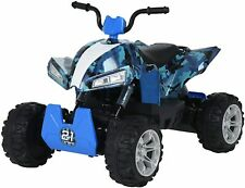 24V Kids ATV Ride On Quad 4 Wheeler Battery Powered Electric ATV Camo Blue
