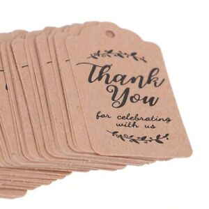 100pcs Brown Craft Gift Tags Thank You Paper Tags Wedding Party Favors for Guest