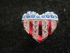 Swarovski Signed Silver tone USA  Heart FLAG Tack Tac Lapel Pin Beautiful
