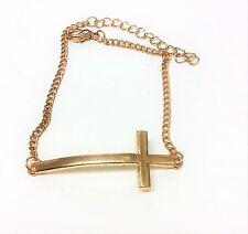 Gold Plated Curved Cross Bracelet Designer Inspired Sideways Cross Bracelet