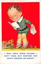 POSTCARD   COMIC   CHILDREN    Letter   Writing   Aunt