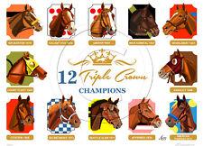 12 Triple Crown Winners Limited Edition Signed Horse Racing Art Print SFASTUDIO